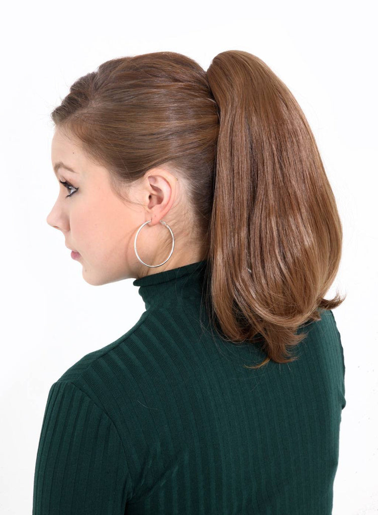 Pearl Mid Length 2-Way Reversible Synthetic Ponytail in #4 Dark Brown
