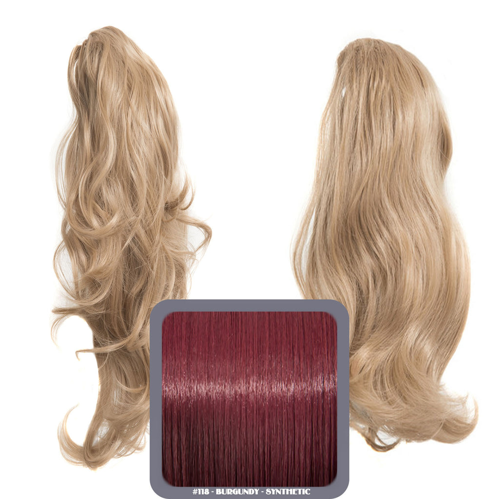 Laurel Long 2-Way Reversible Drawstring Ponytail in #118 Burgundy