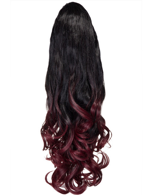Dip Dye Curly Ponytail in Darkest Brown / Burgundy (#2TT118)
