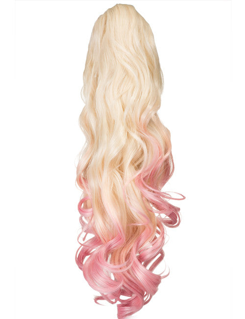 Dip Dye Curly Ponytail in Pure Blonde / Pastel Pink (#613TTPastelPink)