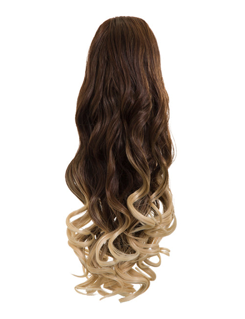 Dip Dye Curly Ponytail in Chocolate Brown / Pure Blonde (#6TT613)