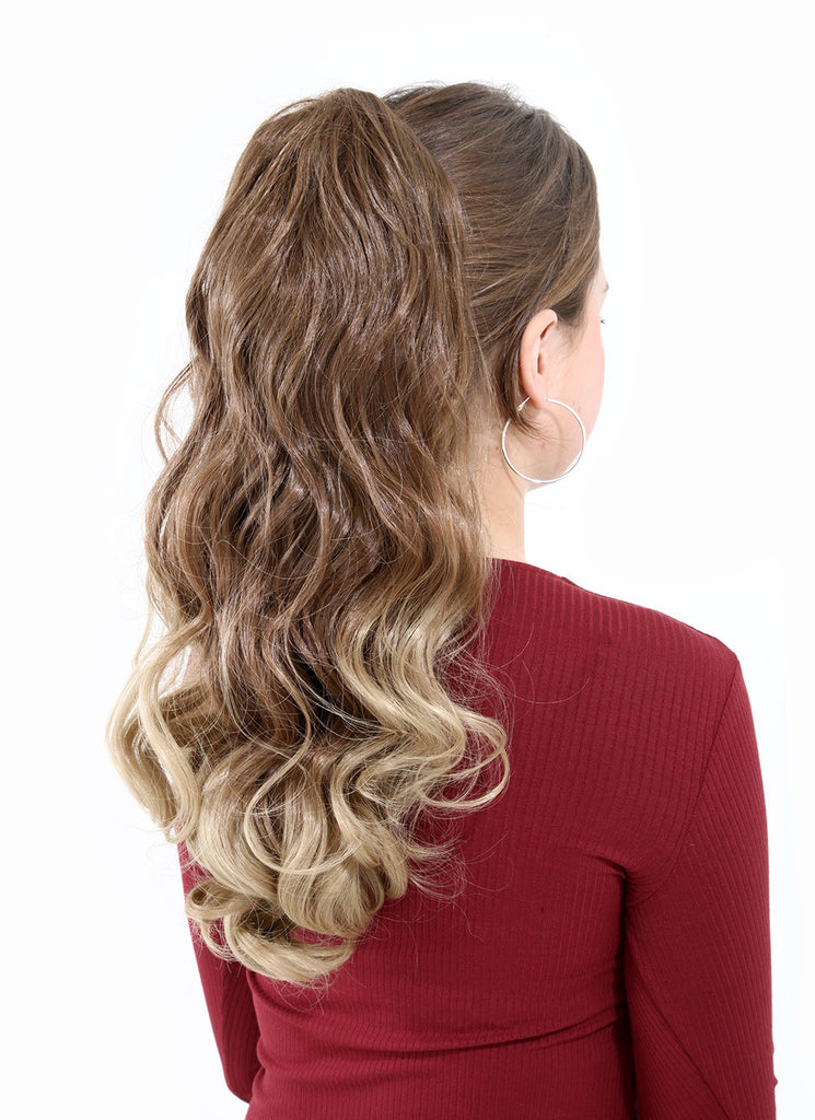 Dip Dye Curly Ponytail in Light Golden Brown / Pale Blonde (#10TT24)
