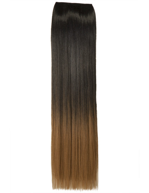 Half Head Dip Dye Straight Heat Resistant Synthetic Hair Extensions Natural Black/Strawberry Blonde