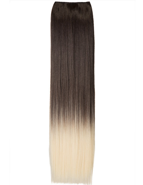 Half Head Dip Dye Straight Heat Resistant Synthetic Hair Extensions Chocolate Brown/Pure Blonde #6TT613