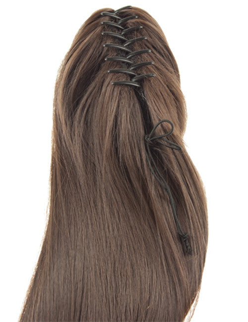 "20"" Long Straight Ends Synthetic Ponytail in #2 - Darkest Brown"