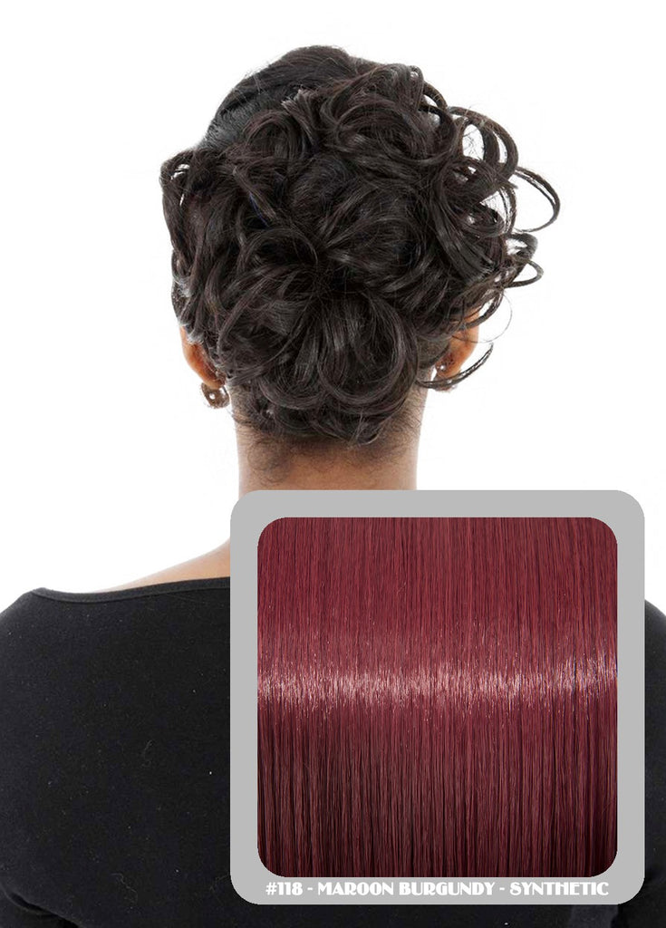 Curly Elastic Scrunchie In Burgundy (#118)