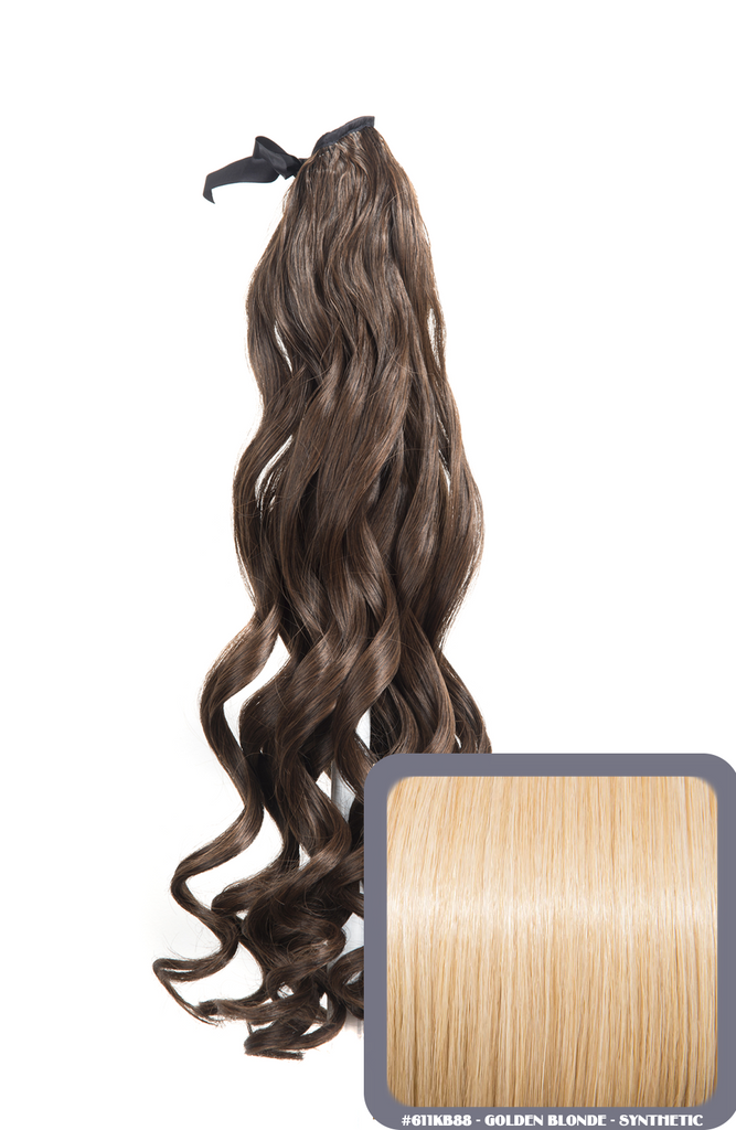 "20"" French Curly Wrap-Around Synthetic Ponytail in #611KB88 - Golden Blonde"