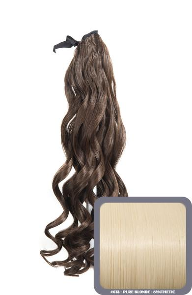 "20"" French Curly Wrap-Around Synthetic Ponytail in #24/613 - Light Golden Blonde"