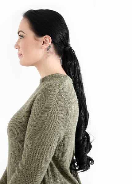 "20"" French Curly Wrap-Around Synthetic Ponytail in #2/30 Warm Brunette"