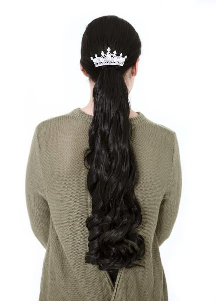 "20"" French Curly Wrap-Around Synthetic Ponytail in #1 - Jet Black"