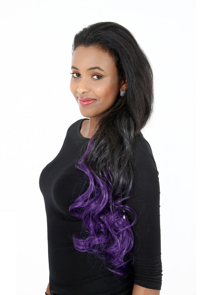 Curly Dip Dye One Piece Synthetic Clip In Hair Extension Black/Purple