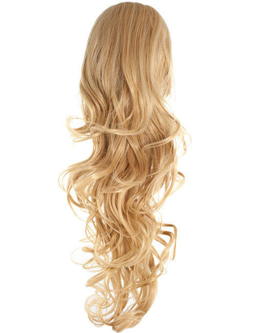 Long Curly Drawstring Synthetic Ponytail in Darkest Brown #2