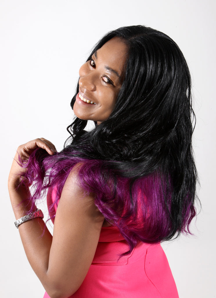 18 Dip Dye Remy Weave Hair Extensions Jet Blackpurple
