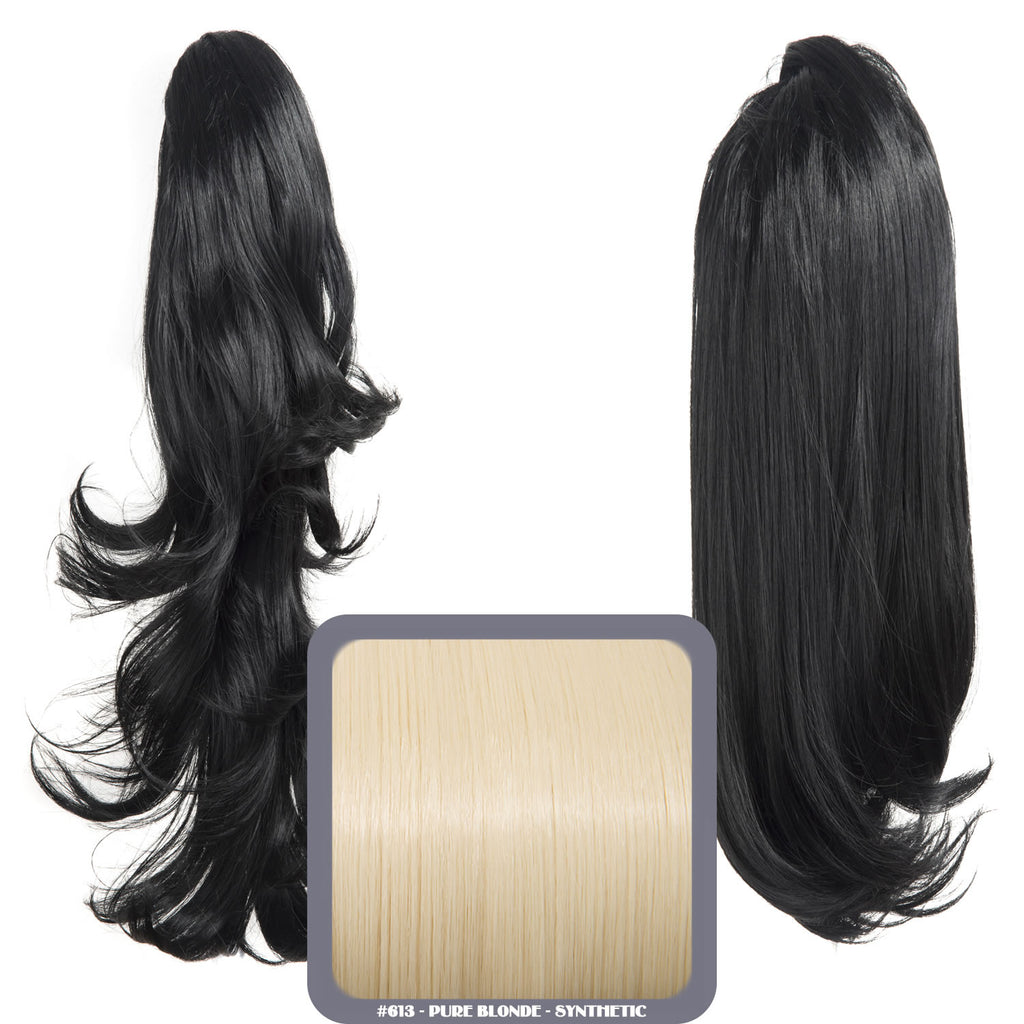 Reversible Wavy Synthetic Ponytail in #613 Pure Blonde