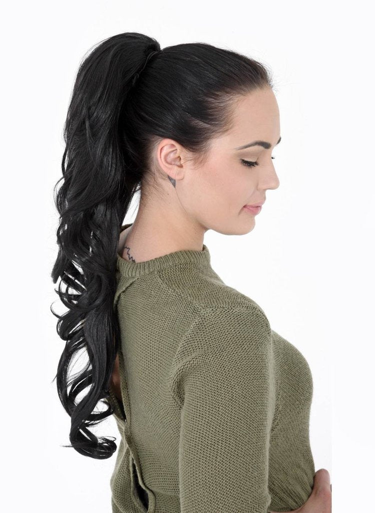 "22"" Volume Boost Clip-in Synthetic Ponytail in Jet Black #1"