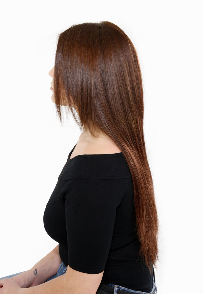 "16"" Full Head Remy Human Hair Clip In Extensions 100g In Dark Auburn (#33)"