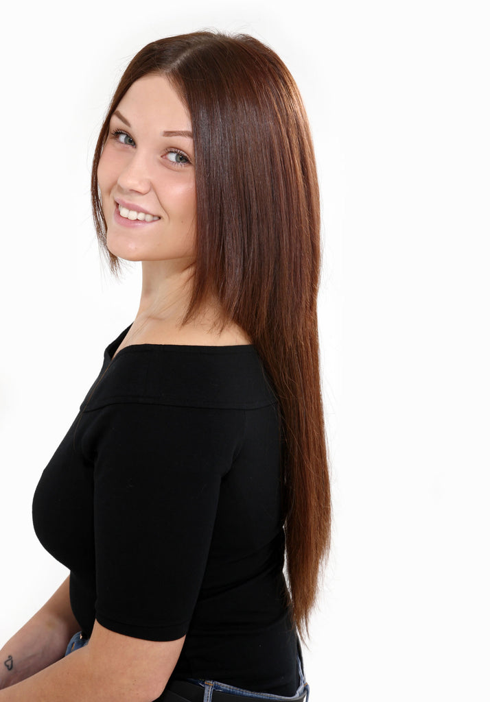 "18"" Full Head Remy Human Hair Clip In Extensions 160g In Caramel Blonde & Golden Brown (#12)"