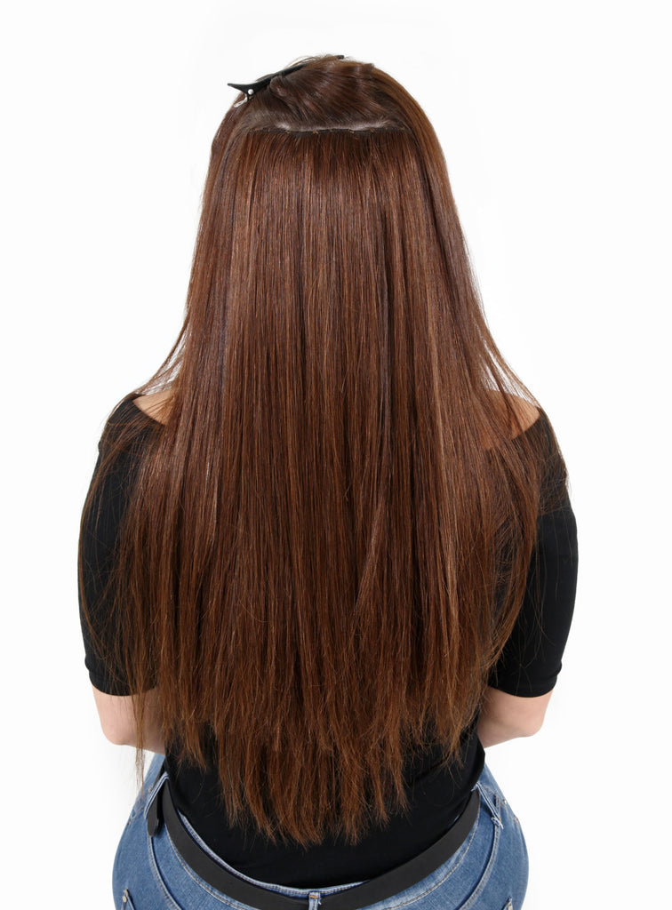 "20"" Full Head Remy Human Hair Clip In Extensions 100g In Caramel Blonde & Golden Brown (#12)"