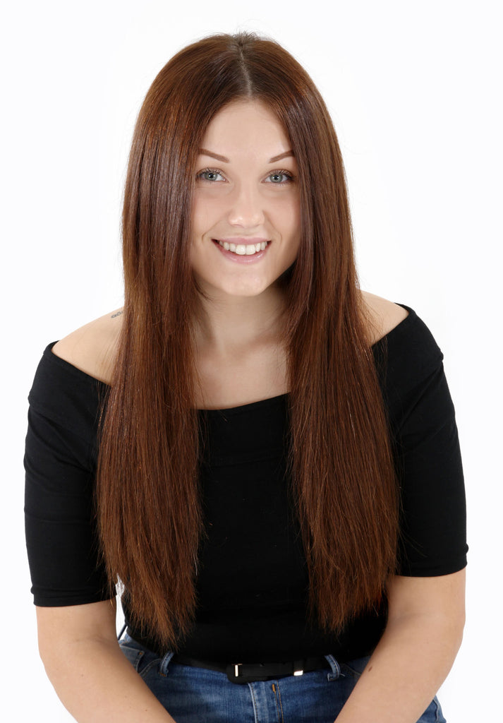 "20"" Deluxe Remy Human Hair Clip In Extensions 200g In Chocolate Brown (#6)"