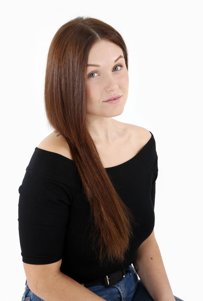 "20"" Full Head Remy Human Hair Clip In Extensions 100g In Dark Auburn (#33)"