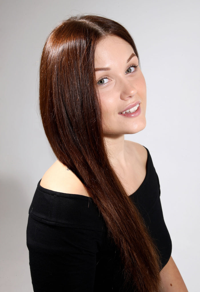 "18"" Full Head Remy Human Hair Clip In Extensions 160g In Chestnut Brown (#8)"