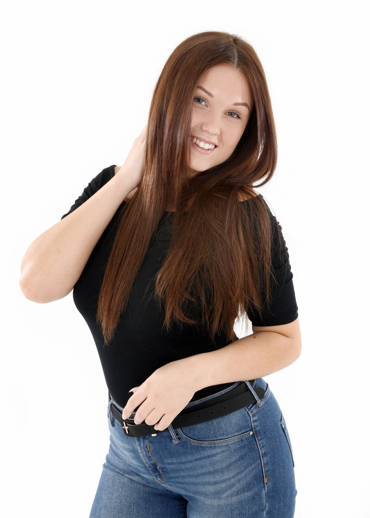 "26"" Full Head Remy Human Hair Clip In Extensions 160g In Jet Black (#1)"