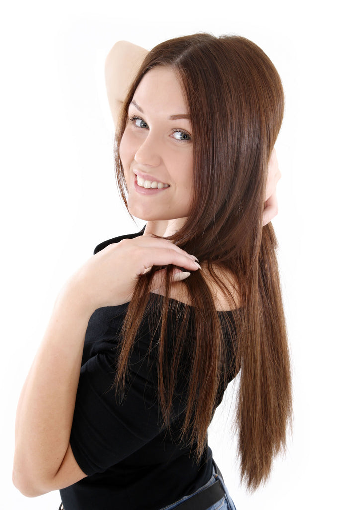 "20"" Full Head Remy Human Hair Clip In Extensions 140g In Chestnut Brown (#8)"