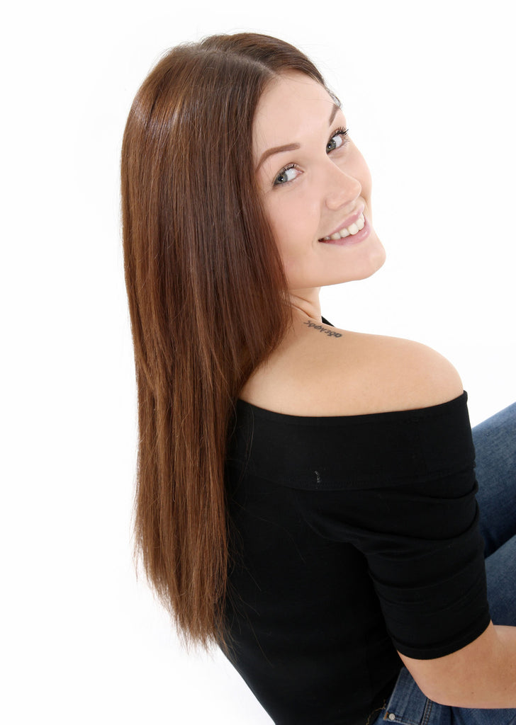 "20"" Full Head Remy Human Hair Clip In Extensions 140g In Jet Black (#1)"
