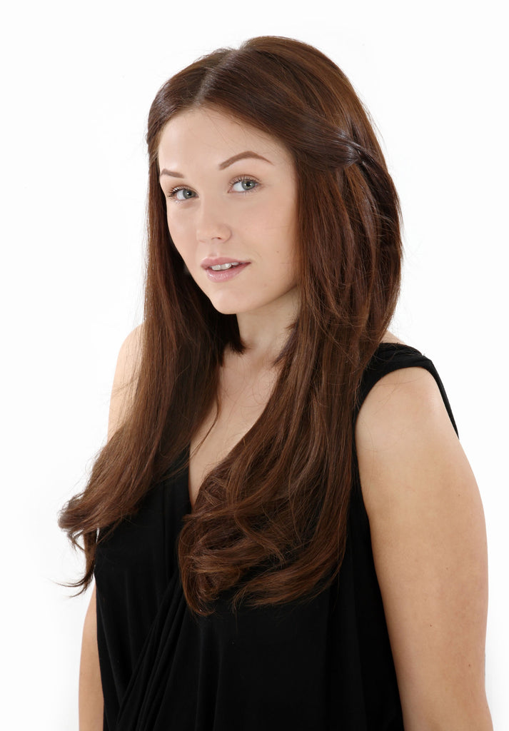 "18"" Full Head Remy Human Hair Clip In Extensions 100g In Strawberry Blonde (#27)"