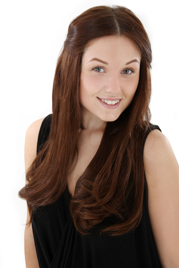 "16"" Full Head Remy Human Hair Clip In Extensions 160g In Dark Auburn (#33)"