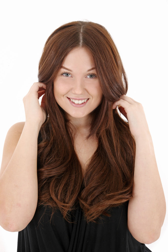 "16"" Full Head Remy Human Hair Clip In Extensions 100g In Chestnut Brown (#8)"