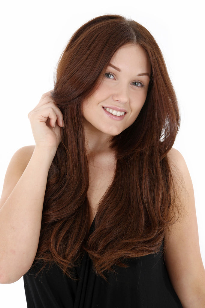"20"" Full Head Remy Human Hair Clip In Extensions 140g In Darkest Brown (#2)"