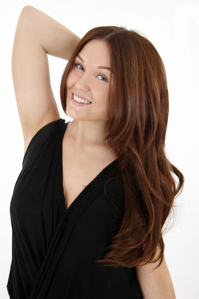 "14"" Full Head Remy Human Hair Clip In Extensions 160g In Dark Auburn (#33)"