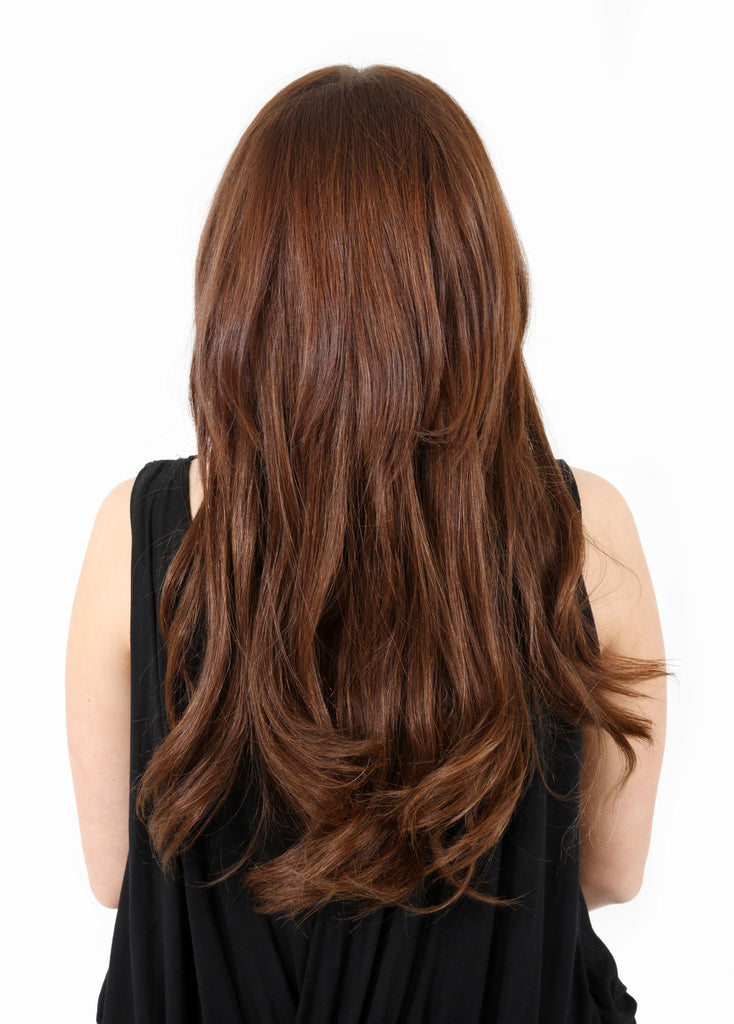 "16"" Full Head Remy Human Hair Clip In Extensions 160g In Light Auburn (#30)"