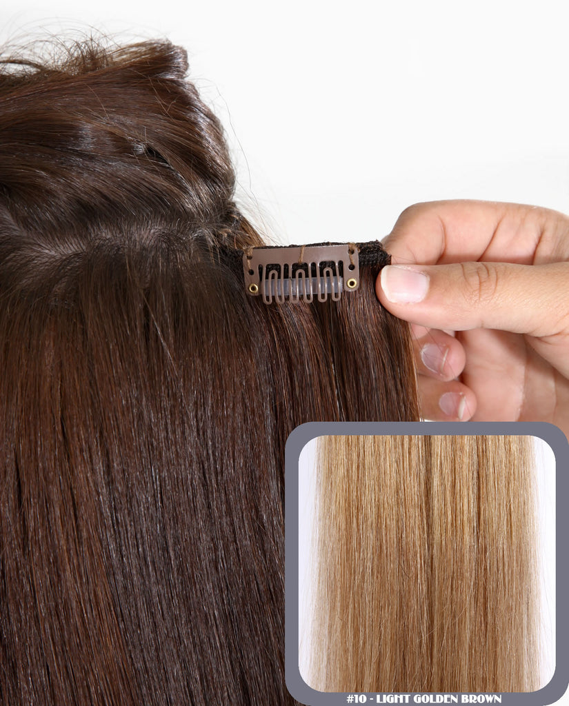 "16"" Full Head Remy Human Hair Clip In Extensions 100g In Light Golden Brown (#10)"