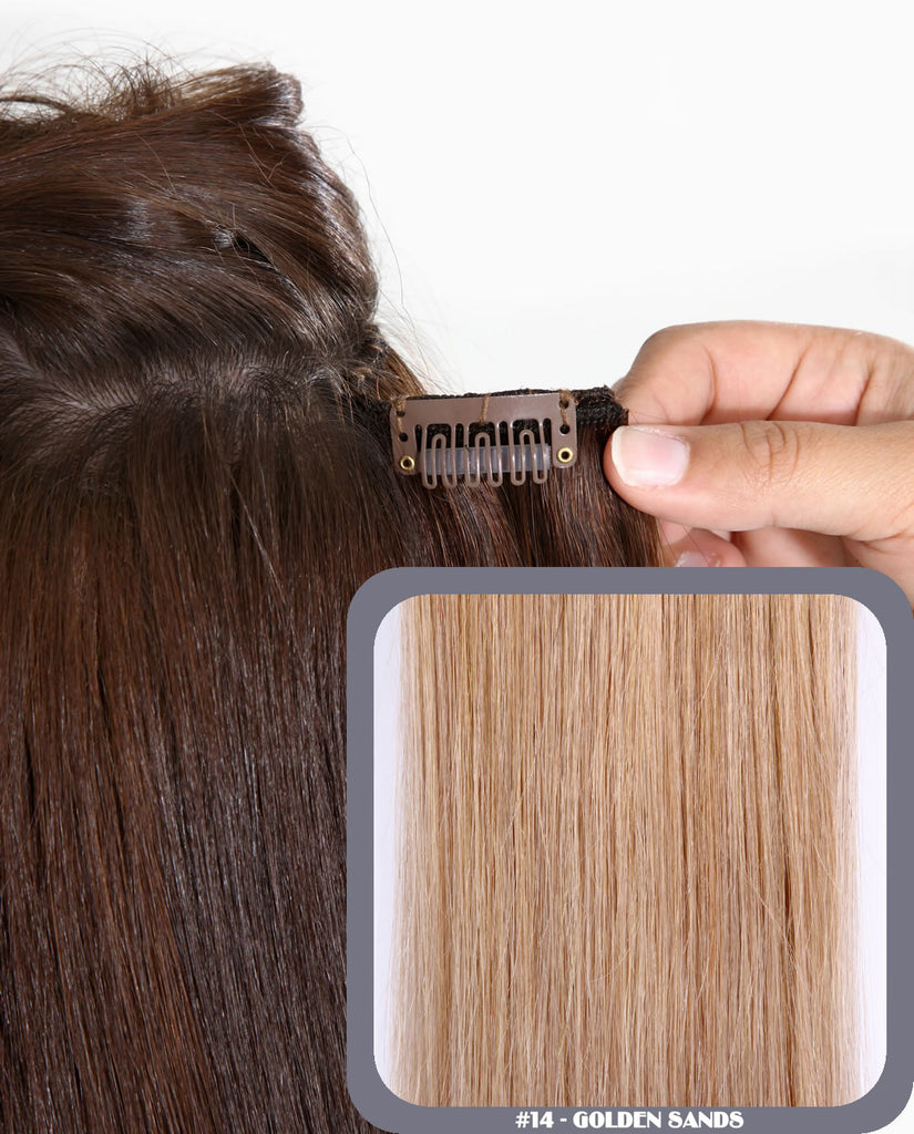 "16"" Full Head Remy Human Hair Clip In Extensions 160g In Golden Sands (#14)"
