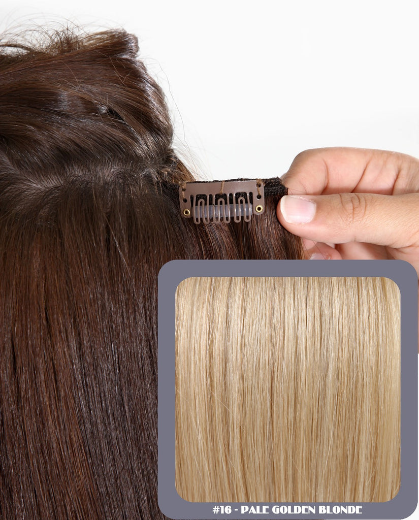"16"" Full Head Remy Human Hair Clip In Extensions 160g In Pale Golden Blonde (#16)"