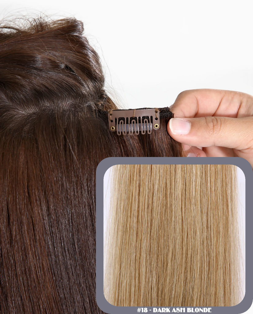 "20"" Full Head Remy Human Hair Clip In Extensions 140g In Dark Ash Blonde (#18)"