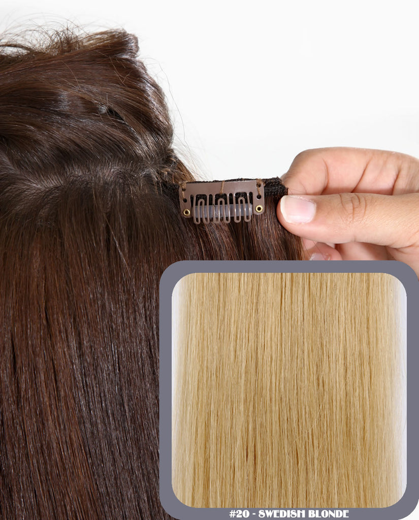 "20"" Full Head Remy Human Hair Clip In Extensions 100g In Swedish Blonde (#20)"