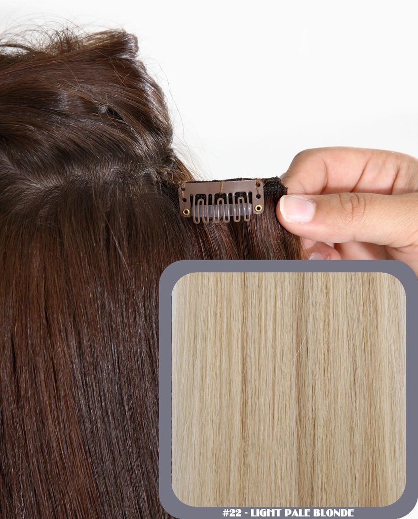 "20"" Full Head Remy Human Hair Clip In Extensions 140g In Light Pale Blonde (#22)"