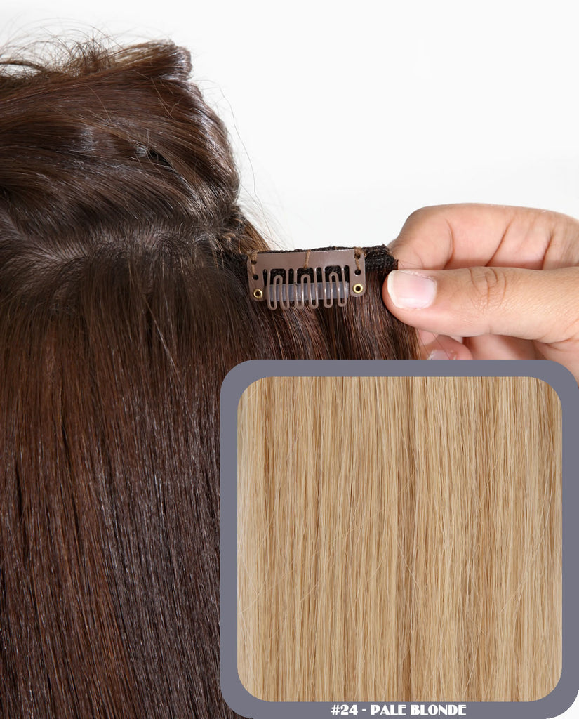 "18"" Full Head Remy Human Hair Clip In Extensions 160g In Pale Blonde (#24)"