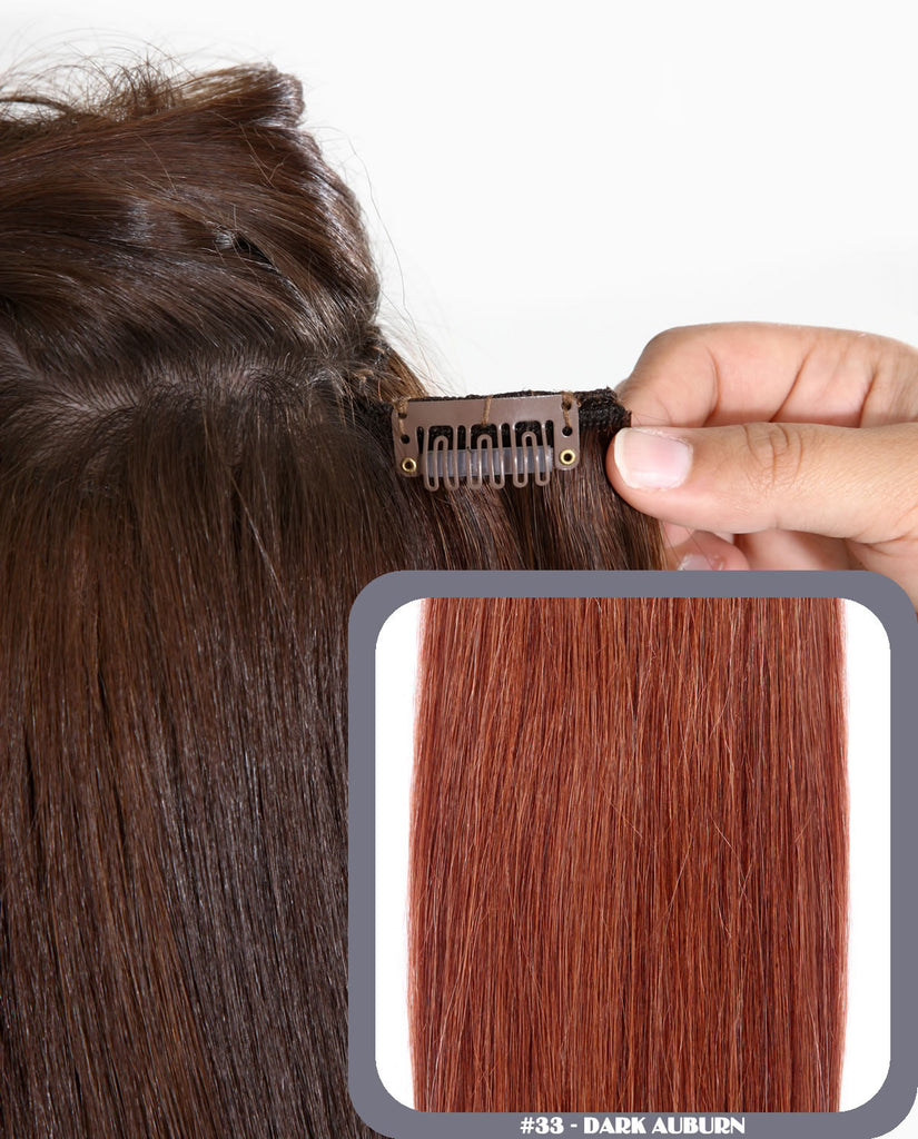 "16"" Deluxe Remy Human Hair Clip In Extensions 200g In Dark Auburn (#33)"