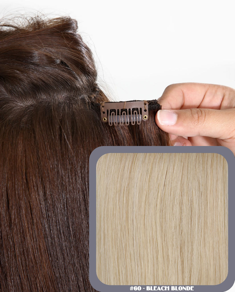 "20"" Full Head Remy Human Hair Clip In Extensions 140g In Bleach Blonde (#60)"