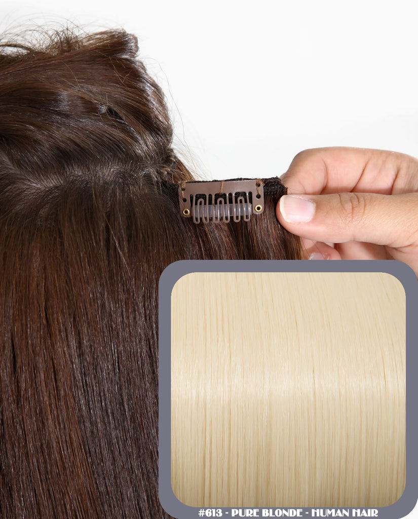 "26"" Full Head Remy Human Hair Clip In Extensions 160g In Pure Blonde (#613)"