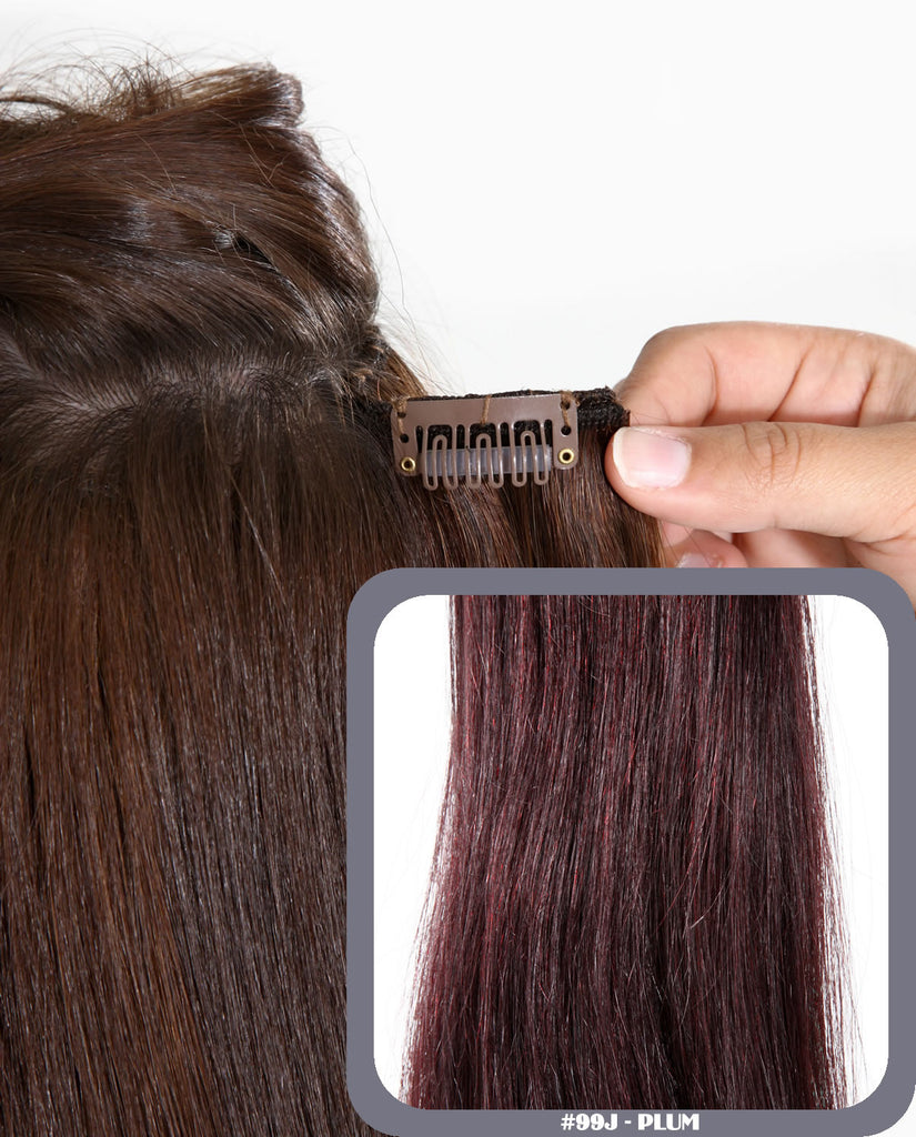 "20"" Full Head Remy Human Hair Clip In Extensions 100g In Royal Plum (#99J)"