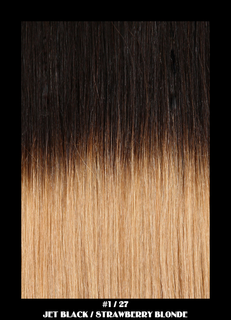 18 Remy Weave Hair Extensions Jet Blackstrawberry Blonde