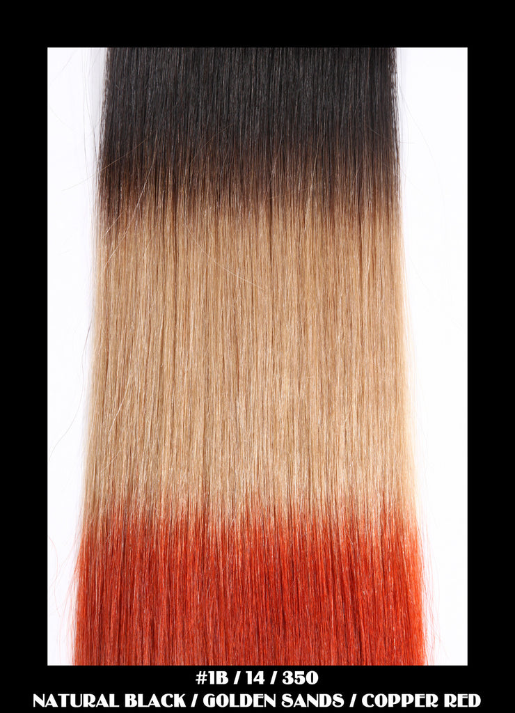 "18"" Dip Dye Deluxe Remy Weave Hair Extensions 140g in #1B/14/350 -  Natural Black/Golden Sands/Copper Red"