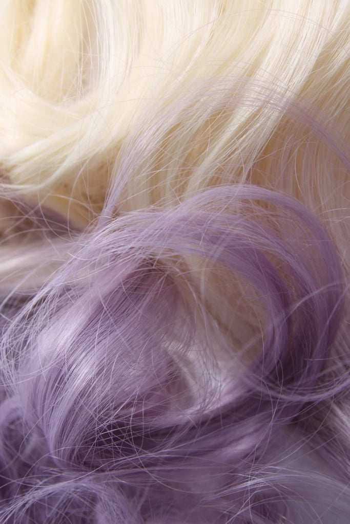 Curly Dip Dye One Piece Synthetic Clip In Hair Extension Blonde/Lilac