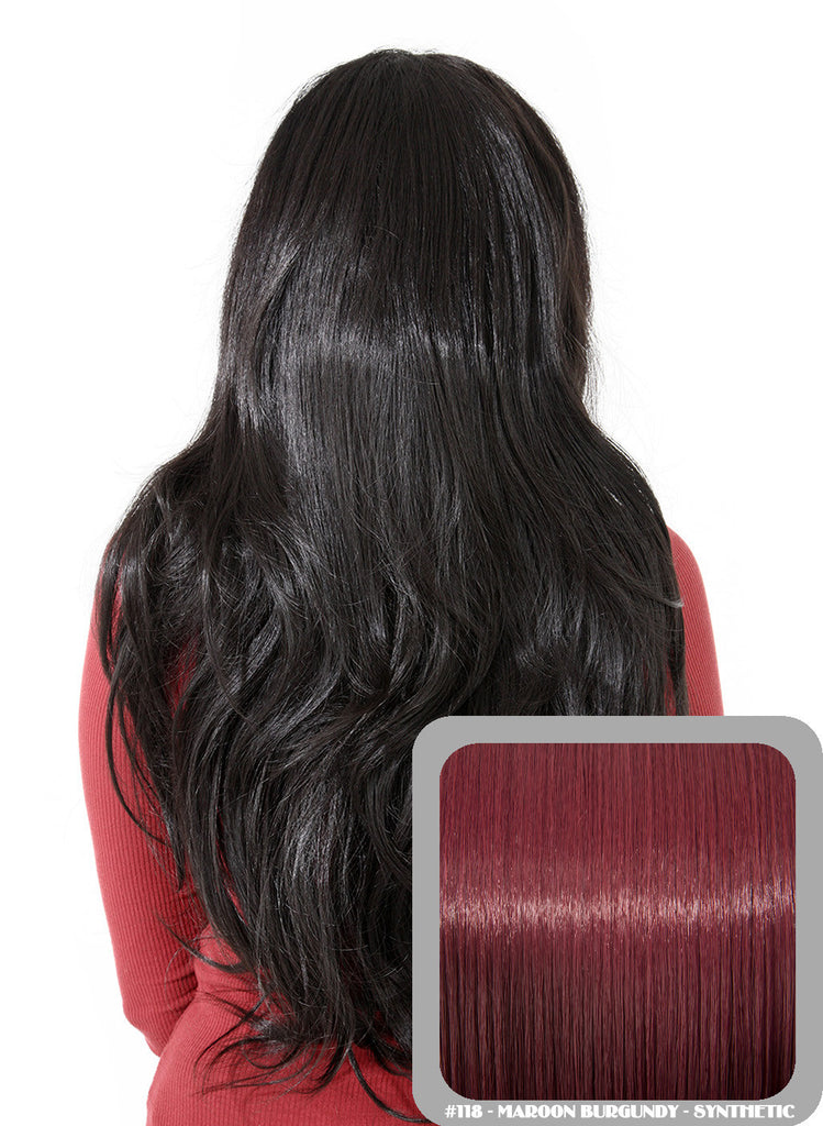 Emma Long Wavy Half Head Wig In Burgundy (#118)