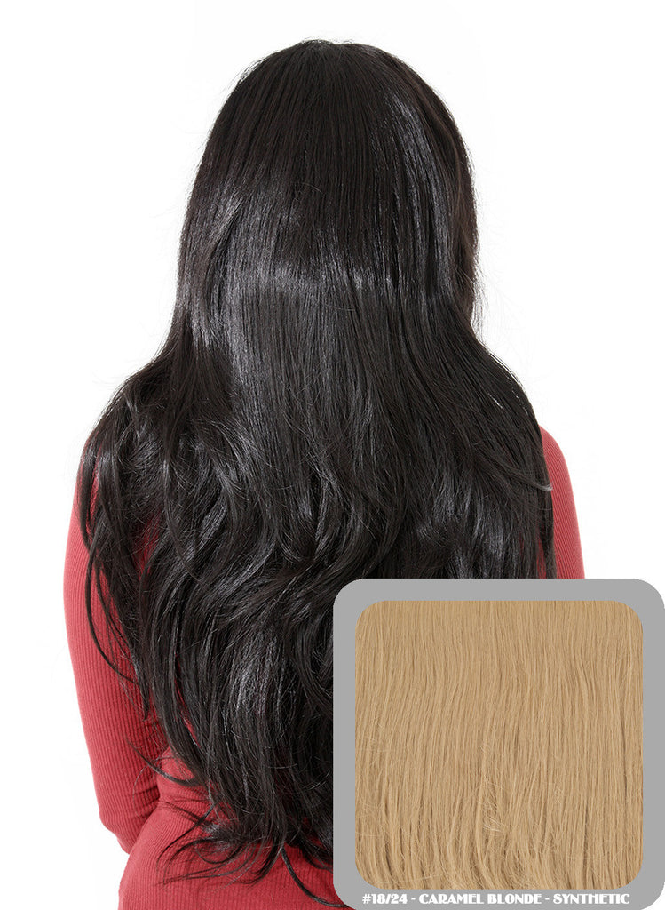 Emma Long Wavy Half Head Wig In Caramel Blonde (#18/24)